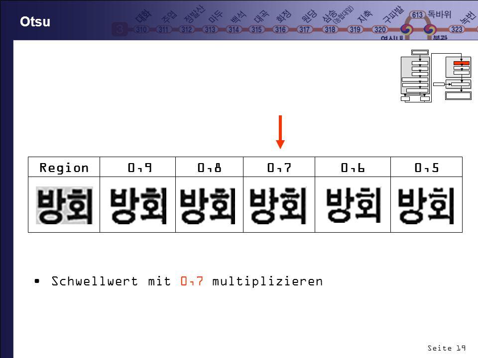 Otsu Schwellwert mit 0,7 multiplizieren Region 0,9 0,8 0,7 0,6 0,5