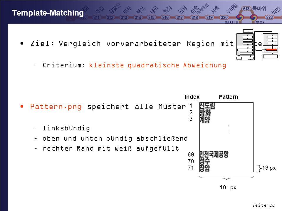 Ziel: Vergleich vorverarbeiteter Region mit Mustern