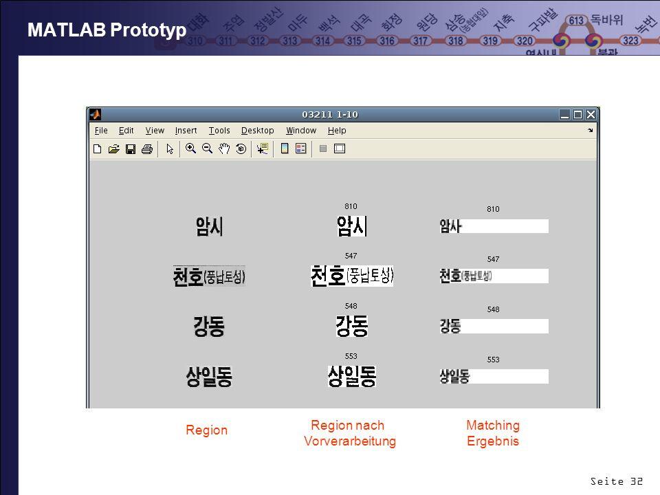MATLAB Prototyp Region nach Vorverarbeitung Matching Ergebnis Region