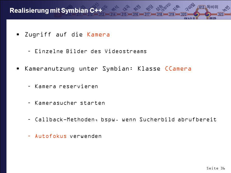 Realisierung mit Symbian C++