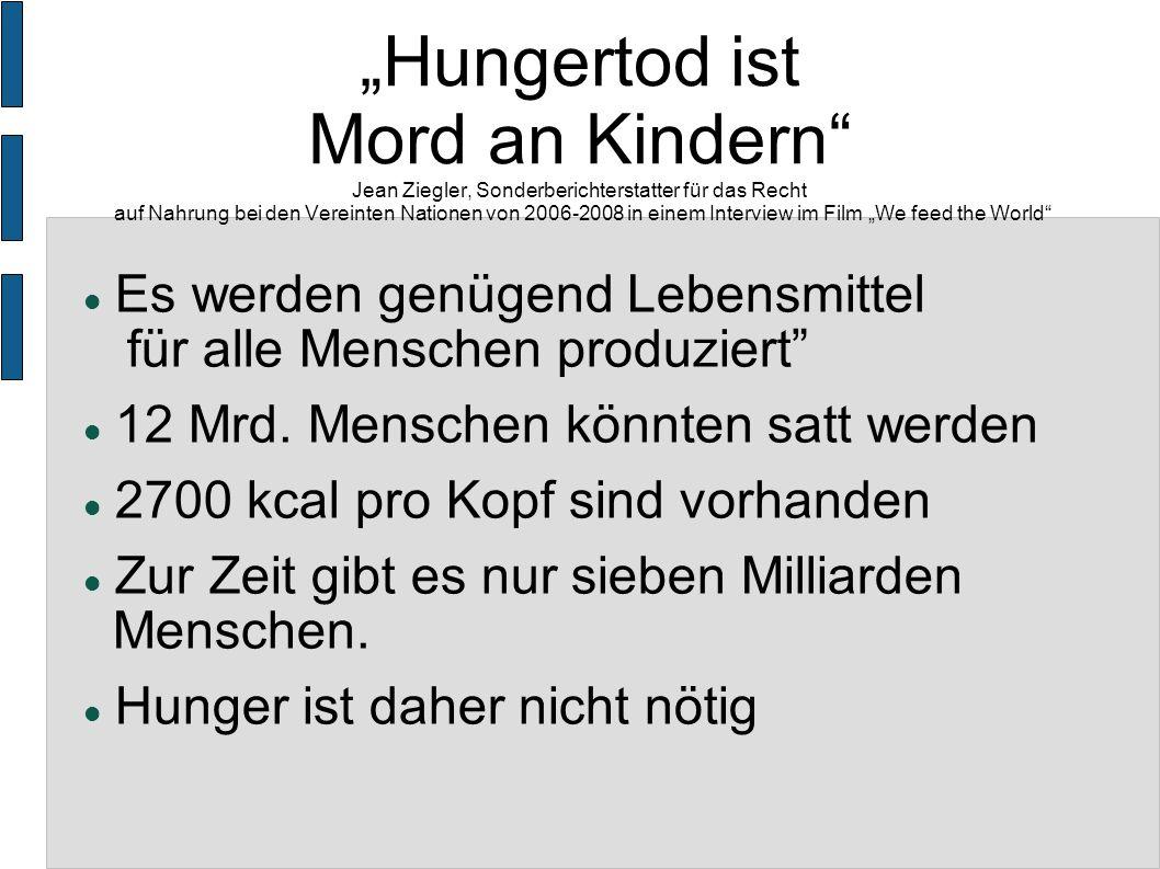 """""""Hungertod ist Mord an Kindern Jean Ziegler, Sonderberichterstatter für das Recht auf Nahrung bei den Vereinten Nationen von 2006-2008 in einem Interview im Film """"We feed the World"""
