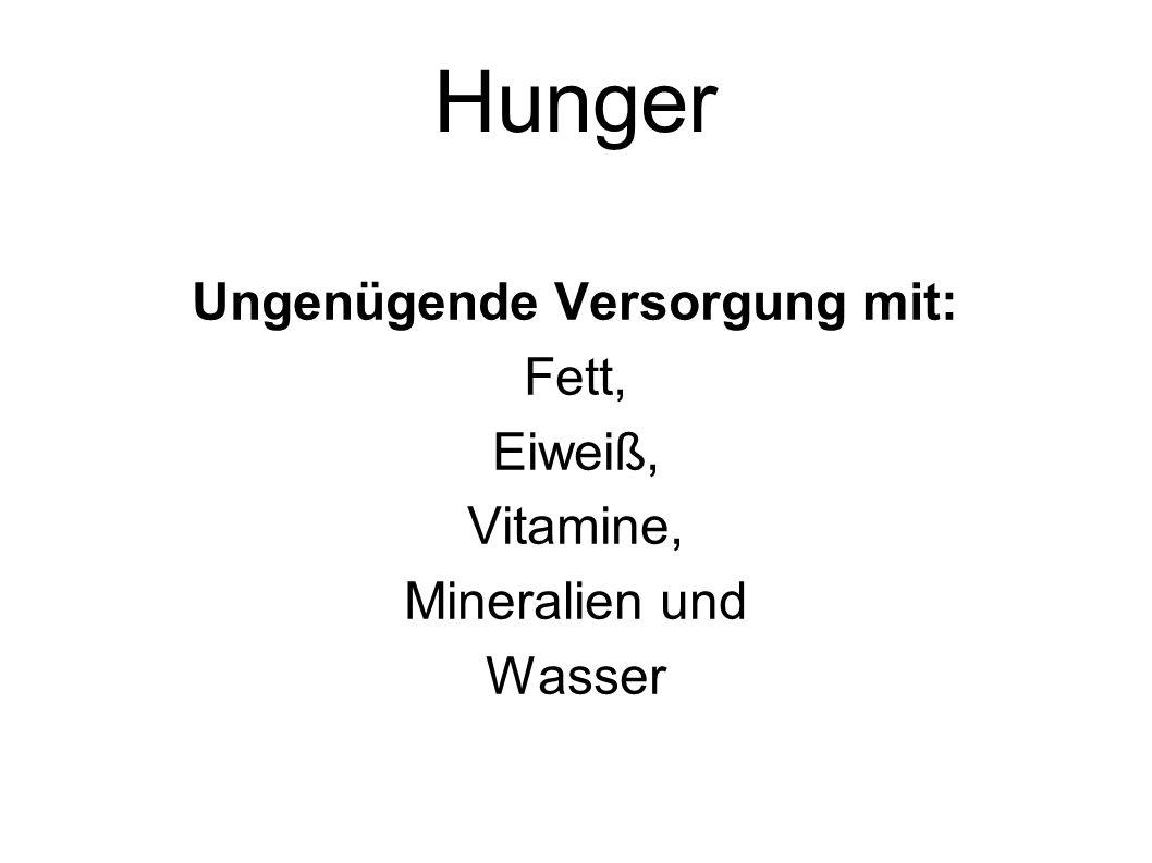 Hunger Ungenügende Versorgung mit: Fett, Eiweiß, Vitamine, Mineralien und Wasser