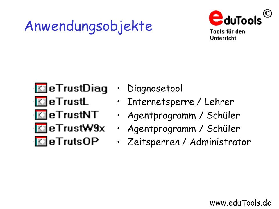 Anwendungsobjekte Diagnosetool Internetsperre / Lehrer