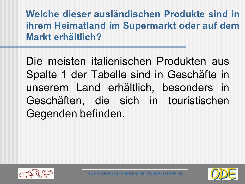 Welche dieser ausländischen Produkte sind in ihrem Heimatland im Supermarkt oder auf dem Markt erhältlich