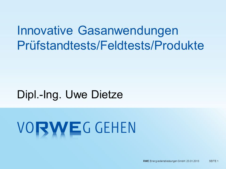 Innovative Gasanwendungen Prüfstandtests/Feldtests/Produkte