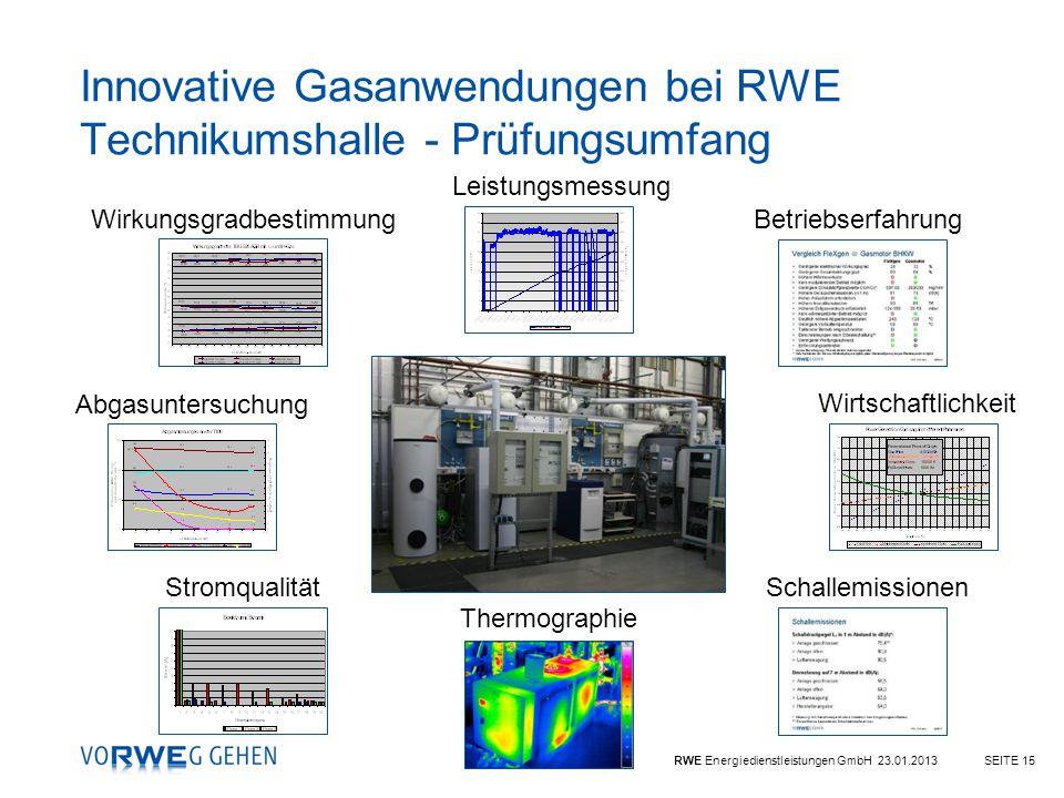 Innovative Gasanwendungen bei RWE Technikumshalle - Prüfungsumfang