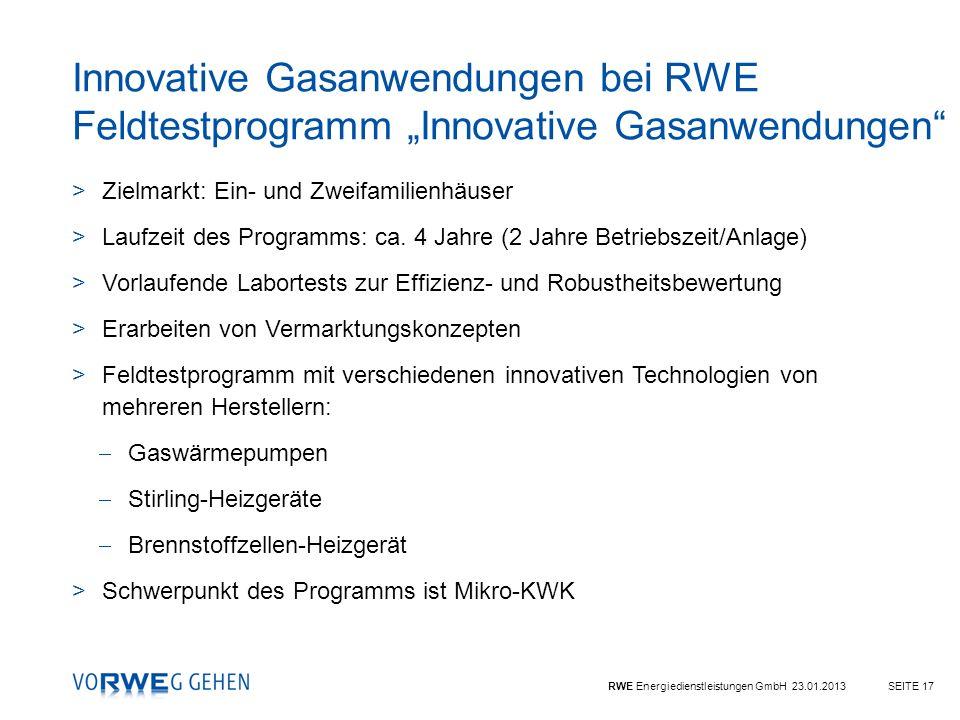 """Innovative Gasanwendungen bei RWE Feldtestprogramm """"Innovative Gasanwendungen"""