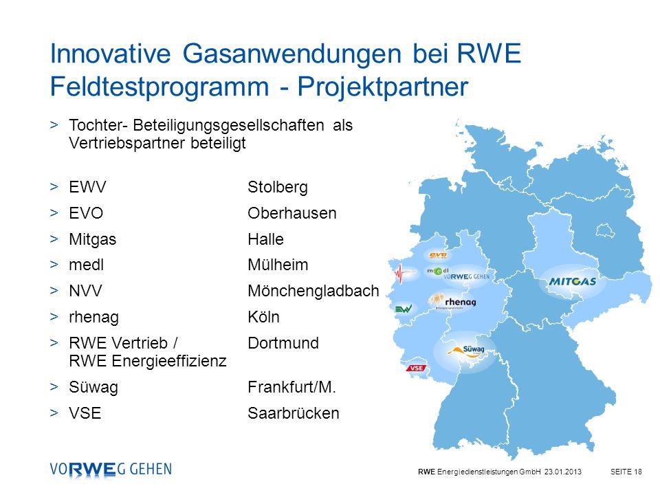 Innovative Gasanwendungen bei RWE Feldtestprogramm - Projektpartner