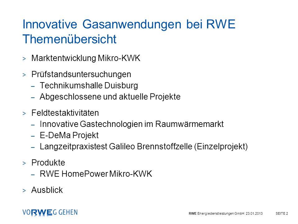 Innovative Gasanwendungen bei RWE Themenübersicht