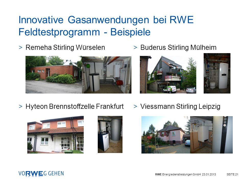 Innovative Gasanwendungen bei RWE Feldtestprogramm - Beispiele