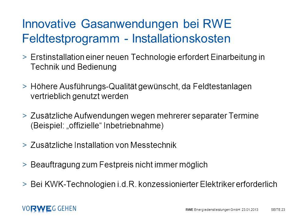 Innovative Gasanwendungen bei RWE Feldtestprogramm - Installationskosten