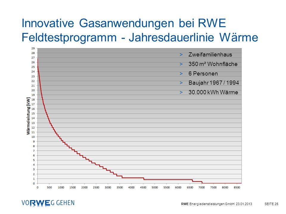 Innovative Gasanwendungen bei RWE Feldtestprogramm - Jahresdauerlinie Wärme