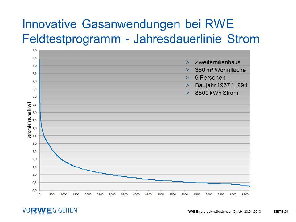 Innovative Gasanwendungen bei RWE Feldtestprogramm - Jahresdauerlinie Strom