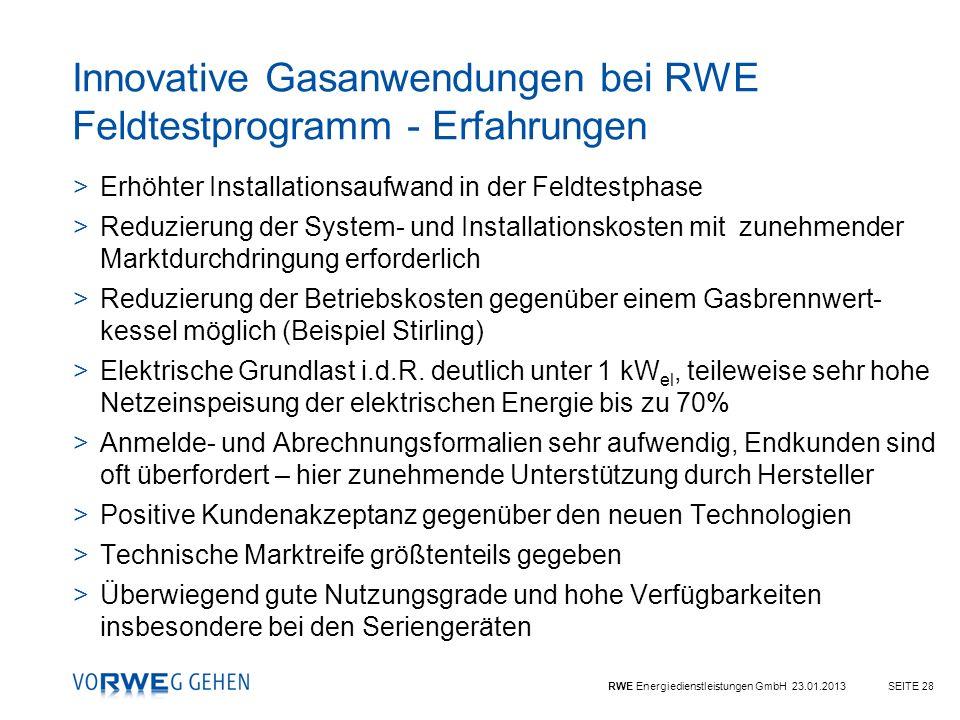 Innovative Gasanwendungen bei RWE Feldtestprogramm - Erfahrungen