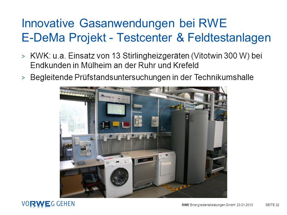 Innovative Gasanwendungen bei RWE E-DeMa Projekt - Testcenter & Feldtestanlagen