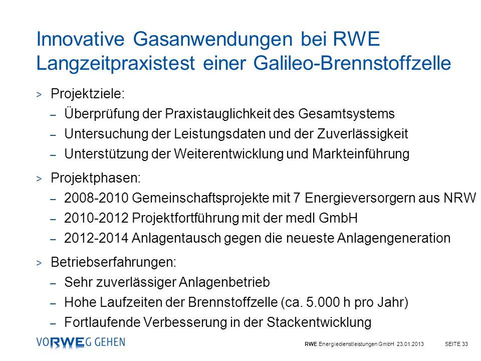 Innovative Gasanwendungen bei RWE Langzeitpraxistest einer Galileo-Brennstoffzelle