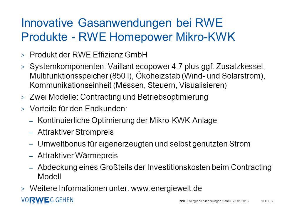 Innovative Gasanwendungen bei RWE Produkte - RWE Homepower Mikro-KWK