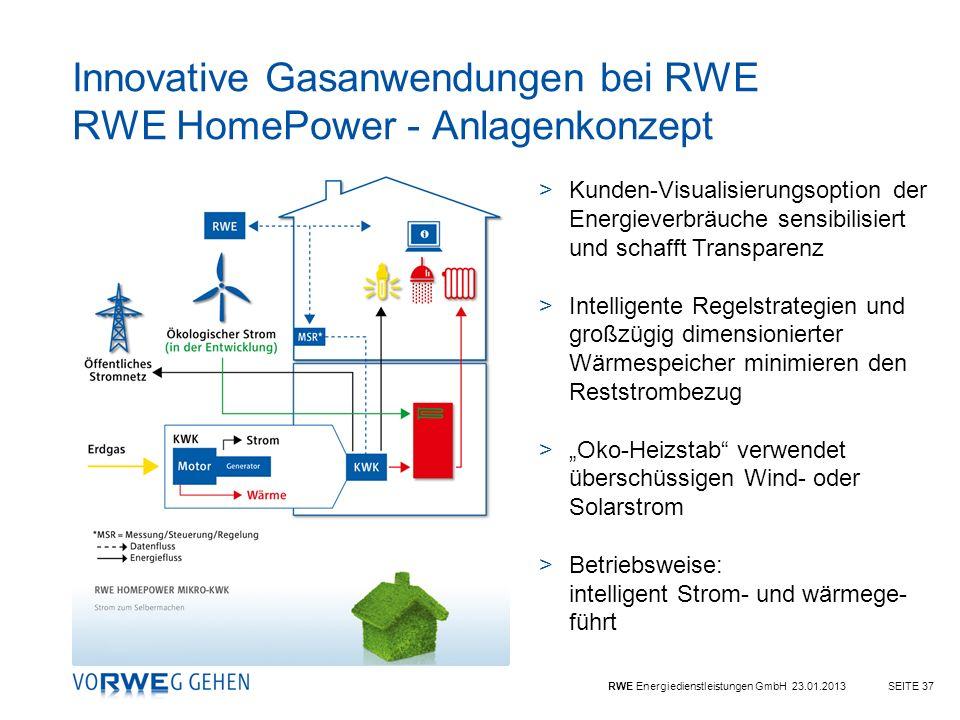 Innovative Gasanwendungen bei RWE RWE HomePower - Anlagenkonzept