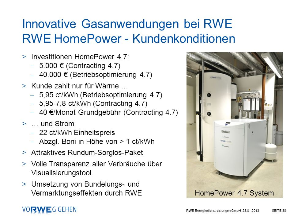Innovative Gasanwendungen bei RWE RWE HomePower - Kundenkonditionen