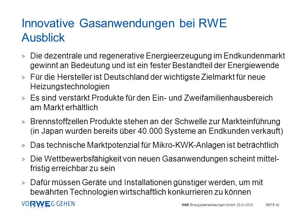 Innovative Gasanwendungen bei RWE Ausblick