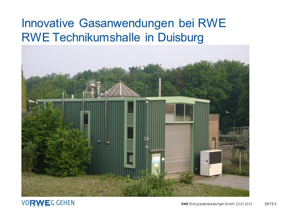 Innovative Gasanwendungen bei RWE RWE Technikumshalle in Duisburg