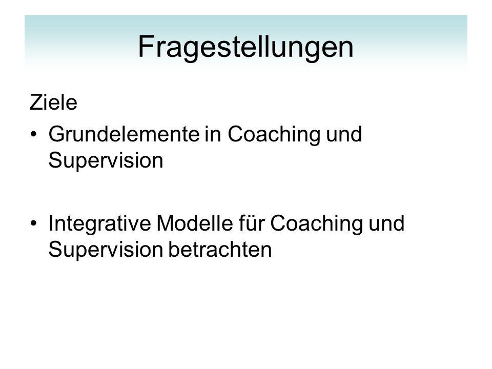 Fragestellungen Ziele Grundelemente in Coaching und Supervision
