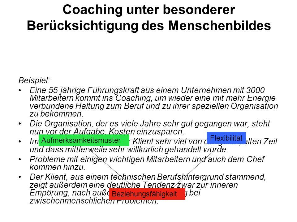 Coaching unter besonderer Berücksichtigung des Menschenbildes