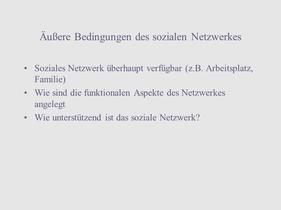 Äußere Bedingungen des sozialen Netzwerkes