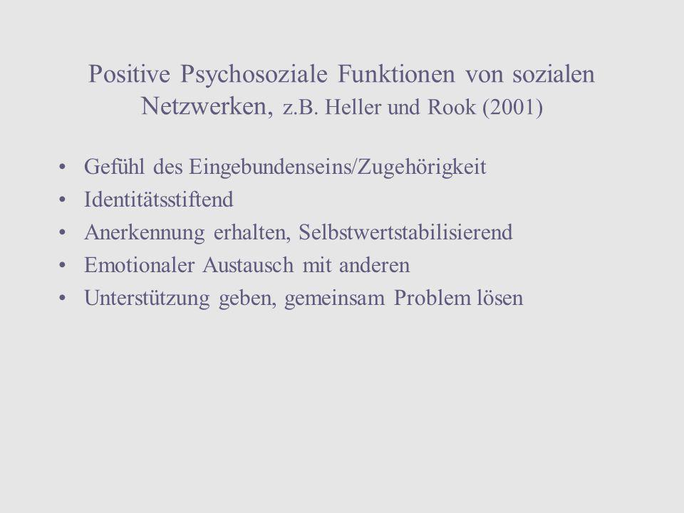Positive Psychosoziale Funktionen von sozialen Netzwerken, z. B
