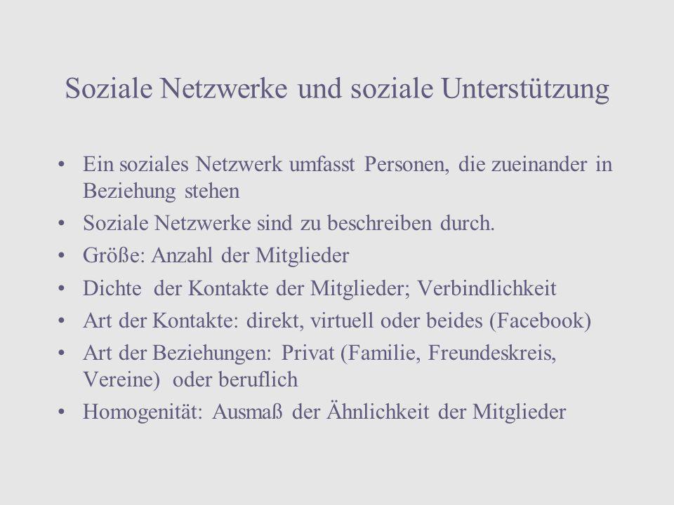 Soziale Netzwerke und soziale Unterstützung
