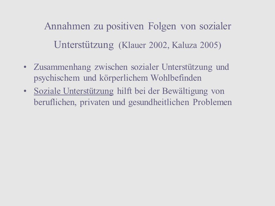 Annahmen zu positiven Folgen von sozialer Unterstützung (Klauer 2002, Kaluza 2005)