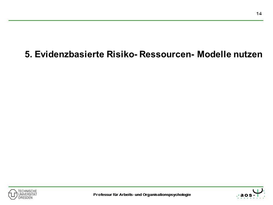 5. Evidenzbasierte Risiko- Ressourcen- Modelle nutzen