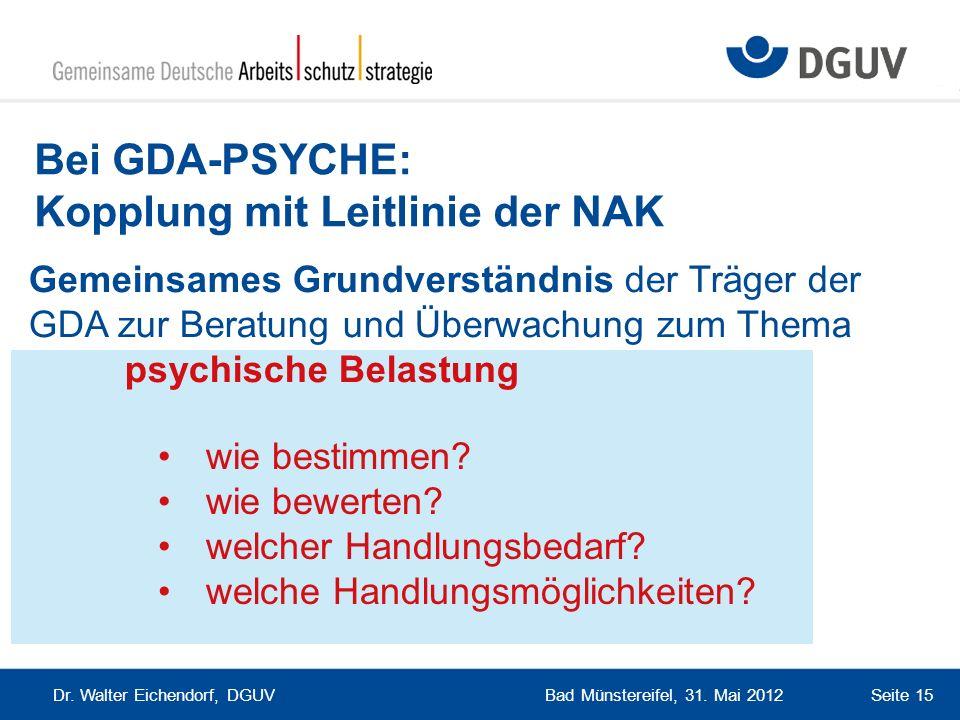 Bei GDA-PSYCHE: Kopplung mit Leitlinie der NAK