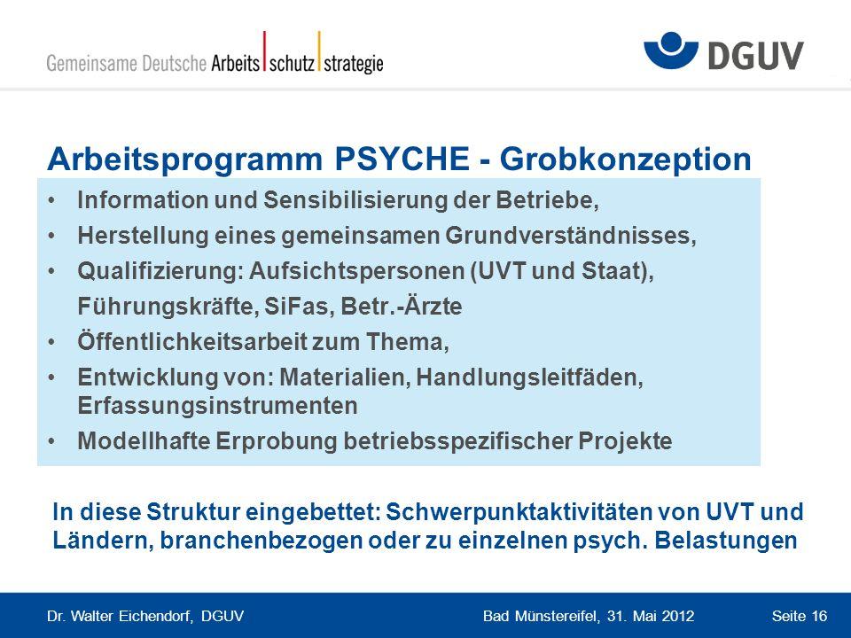 Arbeitsprogramm PSYCHE - Grobkonzeption