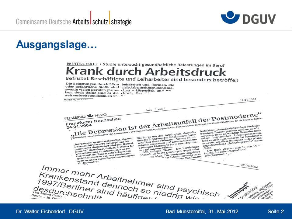 Ausgangslage… Dr. Walter Eichendorf, DGUV