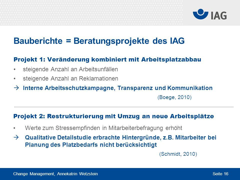 Bauberichte = Beratungsprojekte des IAG