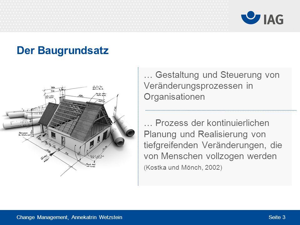Der Baugrundsatz … Gestaltung und Steuerung von Veränderungsprozessen in Organisationen.