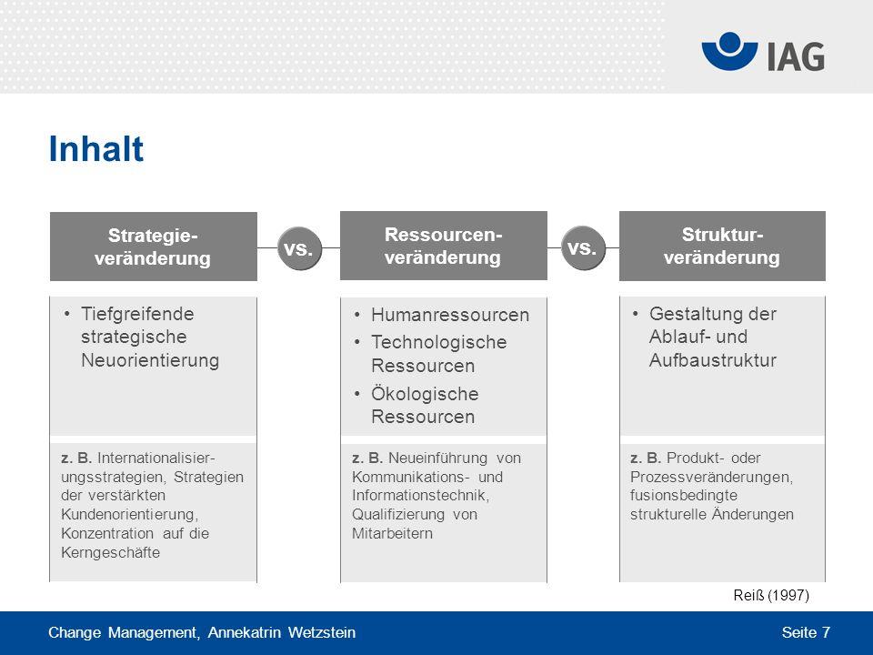 Strategie-veränderung Ressourcen-veränderung Struktur-veränderung