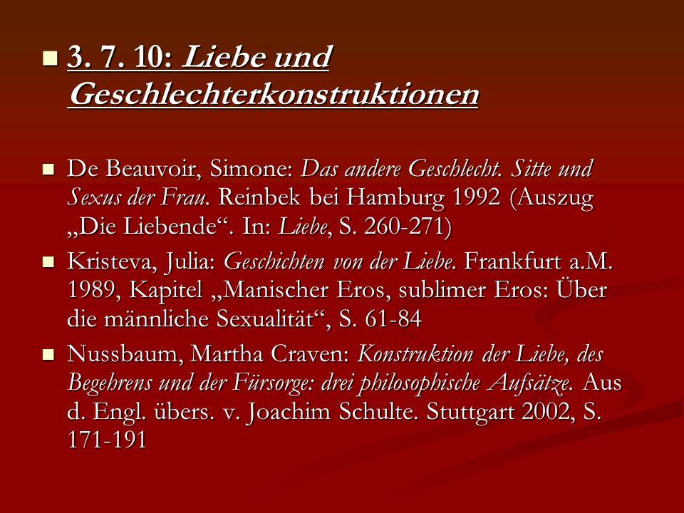 3. 7. 10: Liebe und Geschlechterkonstruktionen