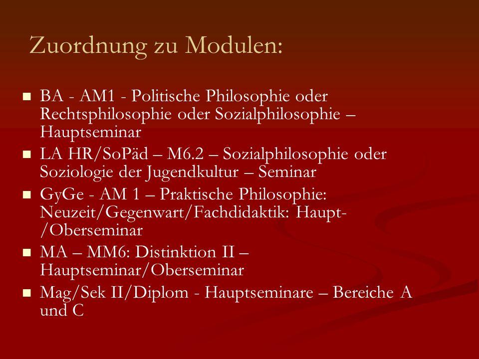 Zuordnung zu Modulen: BA - AM1 - Politische Philosophie oder Rechtsphilosophie oder Sozialphilosophie – Hauptseminar.