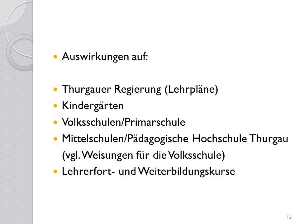 Auswirkungen auf:Thurgauer Regierung (Lehrpläne) Kindergärten. Volksschulen/Primarschule. Mittelschulen/Pädagogische Hochschule Thurgau.