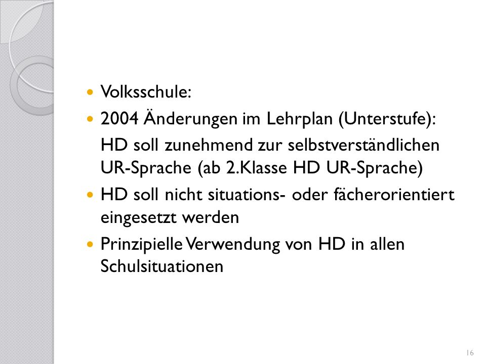 2004 Änderungen im Lehrplan (Unterstufe):