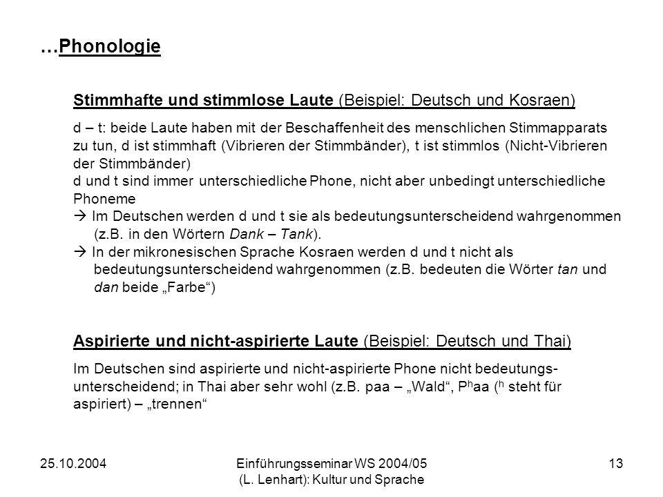 Einführungsseminar WS 2004/05 (L. Lenhart): Kultur und Sprache