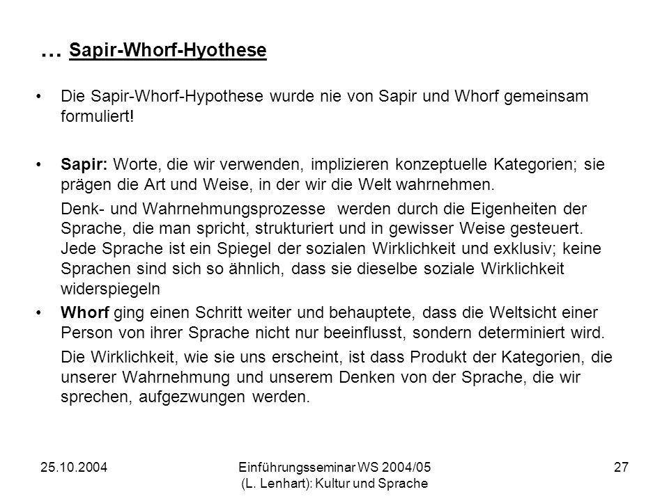 … Sapir-Whorf-Hyothese
