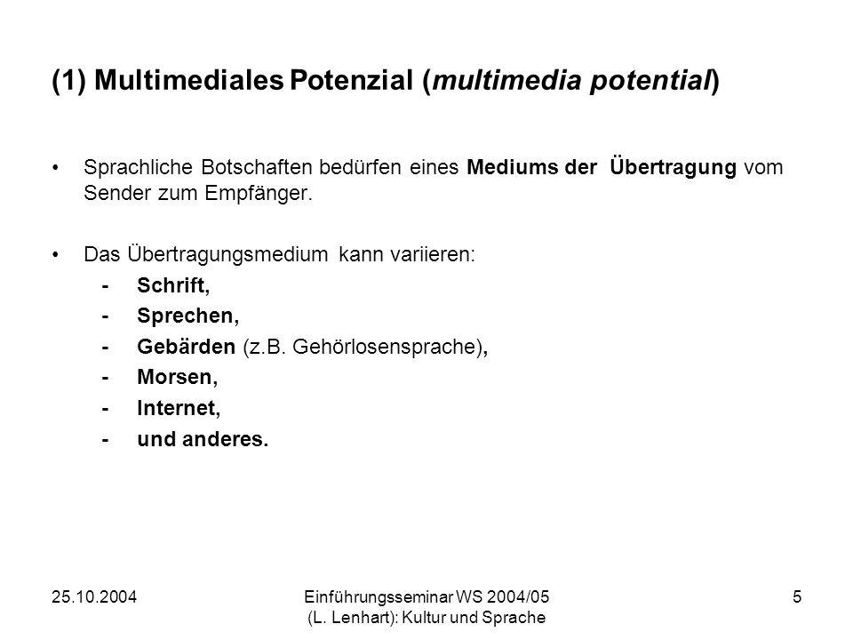 (1) Multimediales Potenzial (multimedia potential)
