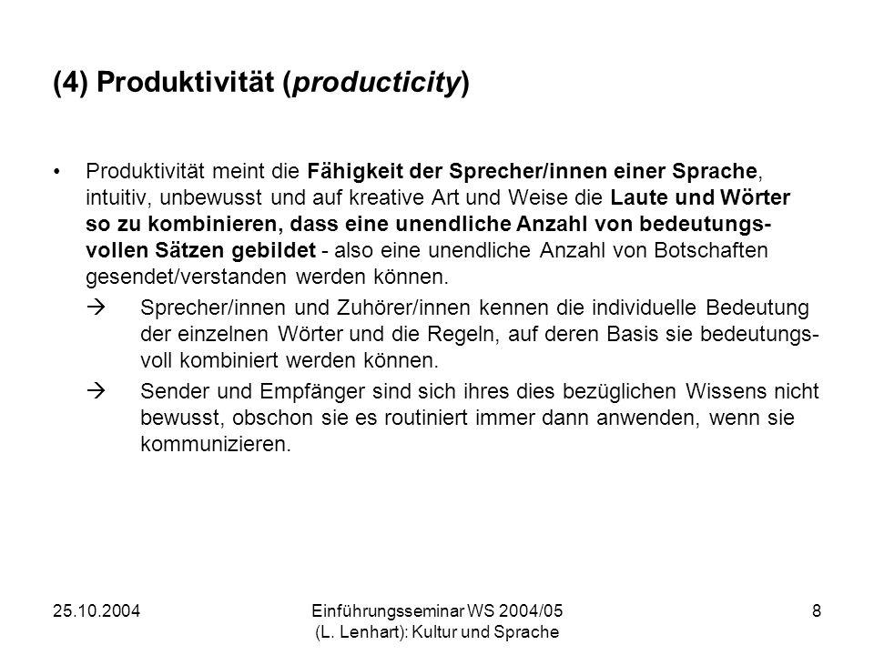 (4) Produktivität (producticity)