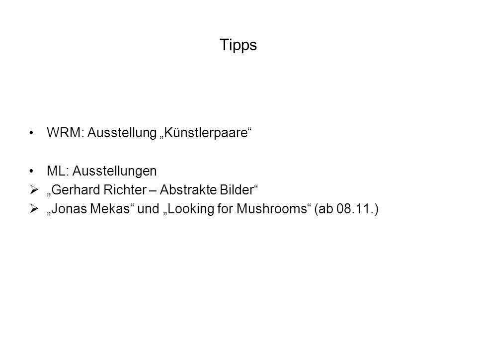 "Tipps WRM: Ausstellung ""Künstlerpaare ML: Ausstellungen"