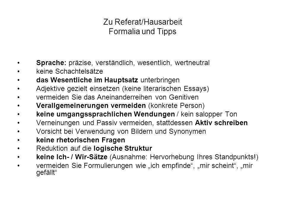 Zu Referat/Hausarbeit Formalia und Tipps