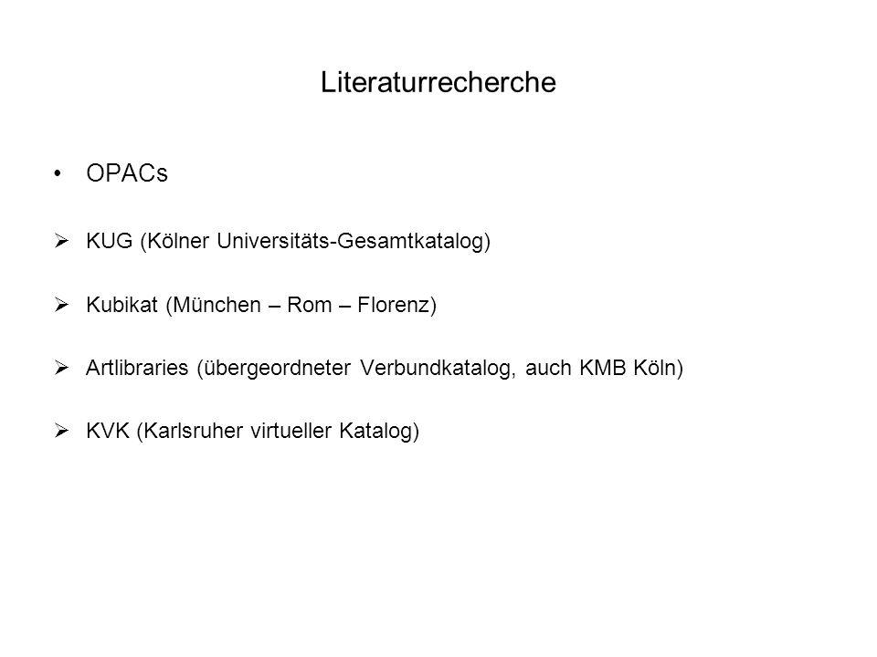 Literaturrecherche OPACs KUG (Kölner Universitäts-Gesamtkatalog)
