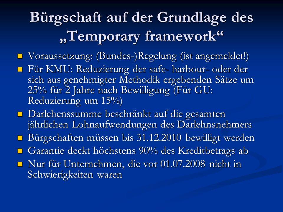 """Bürgschaft auf der Grundlage des """"Temporary framework"""